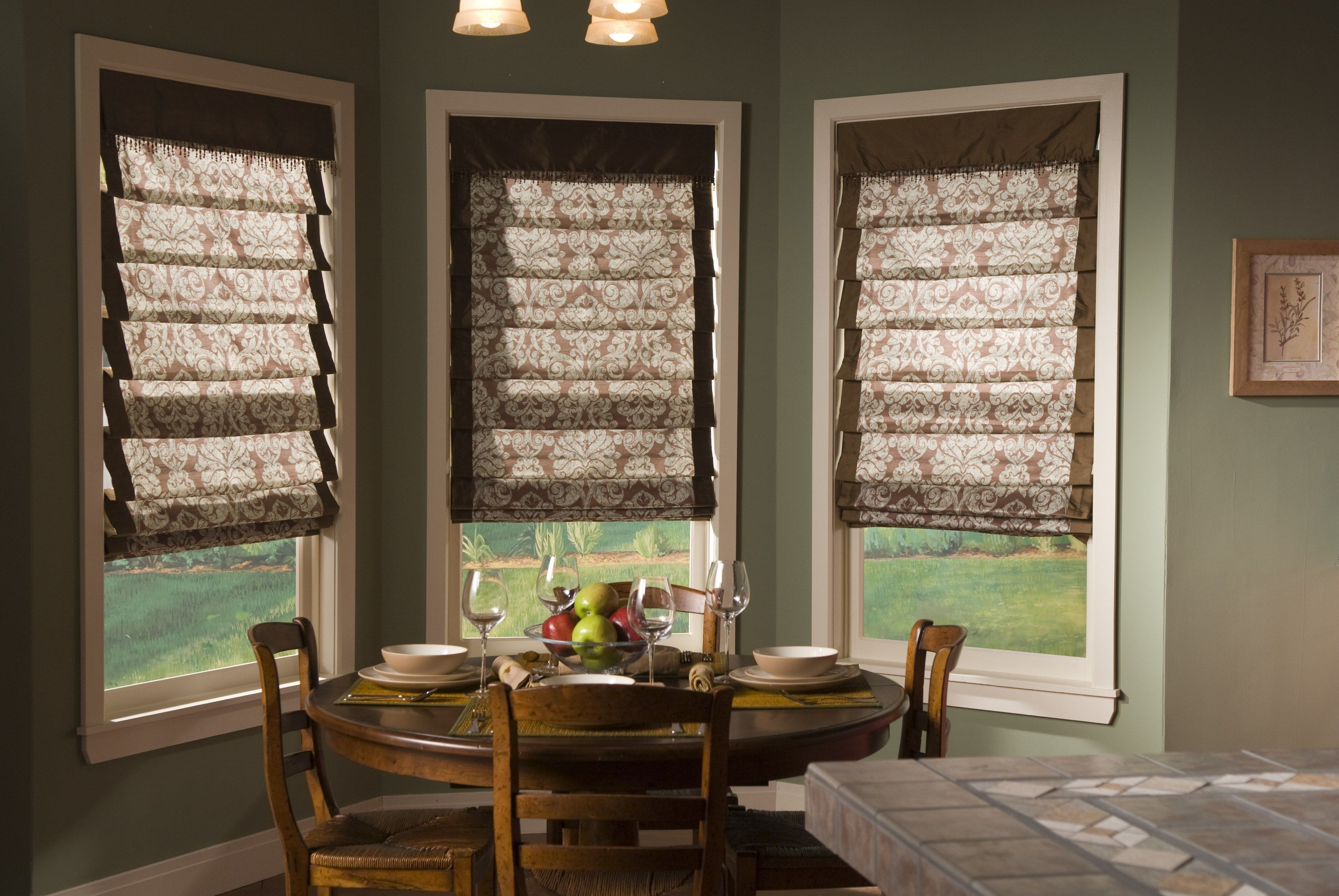Dining Room Window Blinds Soft Romans Make For A Cozy Breakfast Nook  Banded Fabric