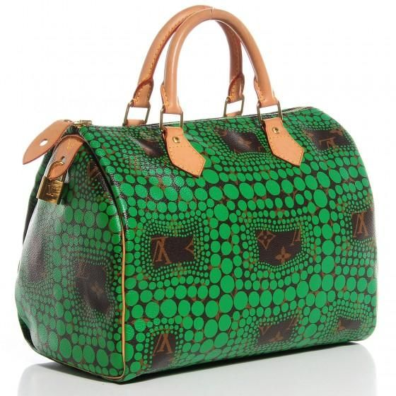 faee271a505f Save big on the Louis Vuitton Yayoi Kusama Speedy 30 Green Satchel! This  satchel is a top 10 member favorite on Tradesy.
