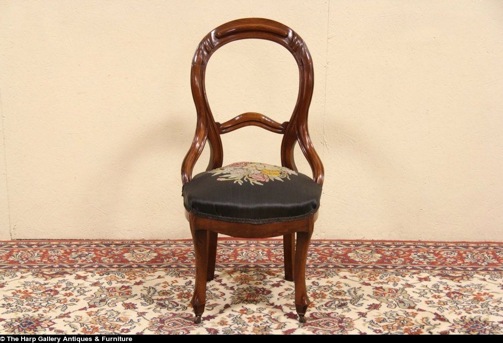 Victorian 1860 Antique Embroidered Horsehair Chair