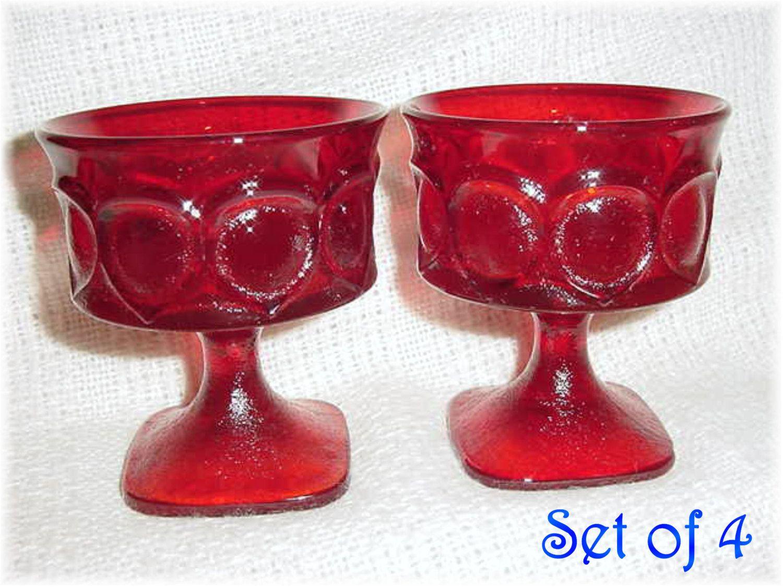 Noritake Spotlight 4 Ruby Red Stem Sherbet Goblets Dessert Glasses Retro Mid Century Modern Art Modernist Christmas Wine Desserts Red Champagne Retro Mid Century