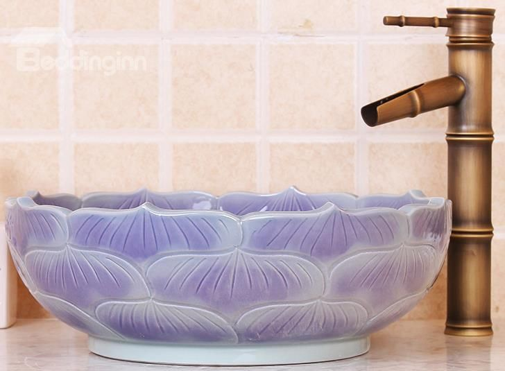 New Arrival Lotus Leaf Patterns Purple Vessel Sink