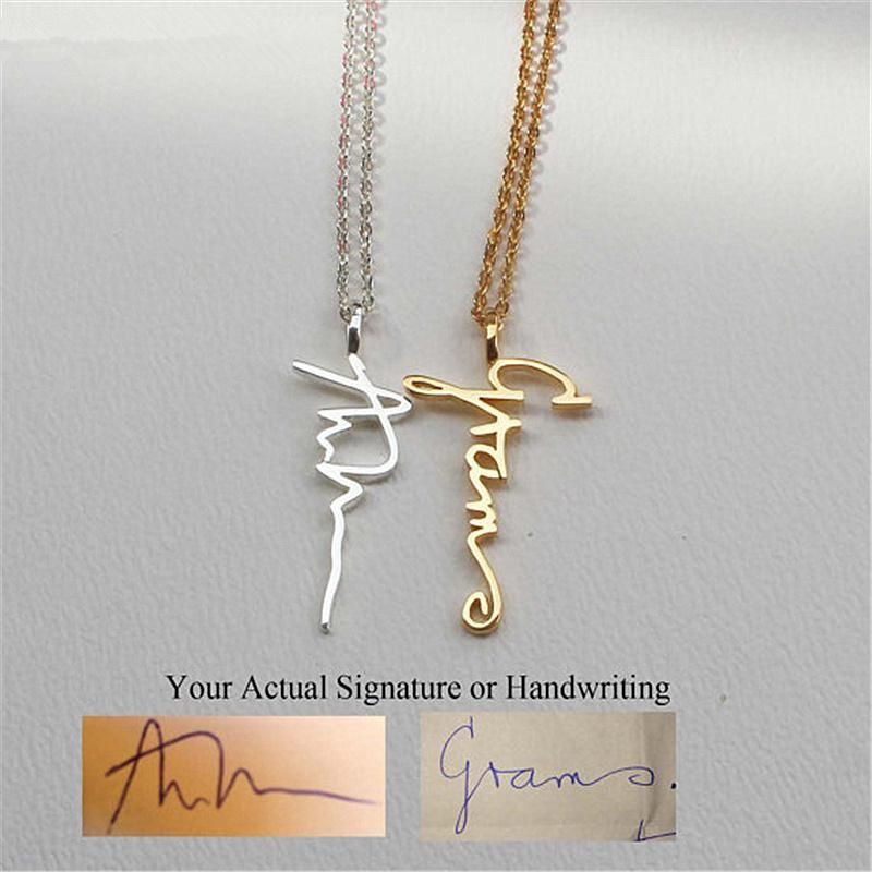 Gold Collier Personalized Signature Necklaces Custom Jewelry Stainless Steel Vertical Name Pendant Necklace Women Birthday Gifts