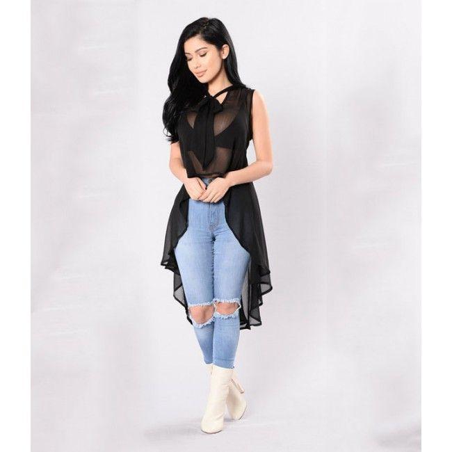 Black Chiffon Long Tail Neck Tie Blouse Ladies Tops Fashion