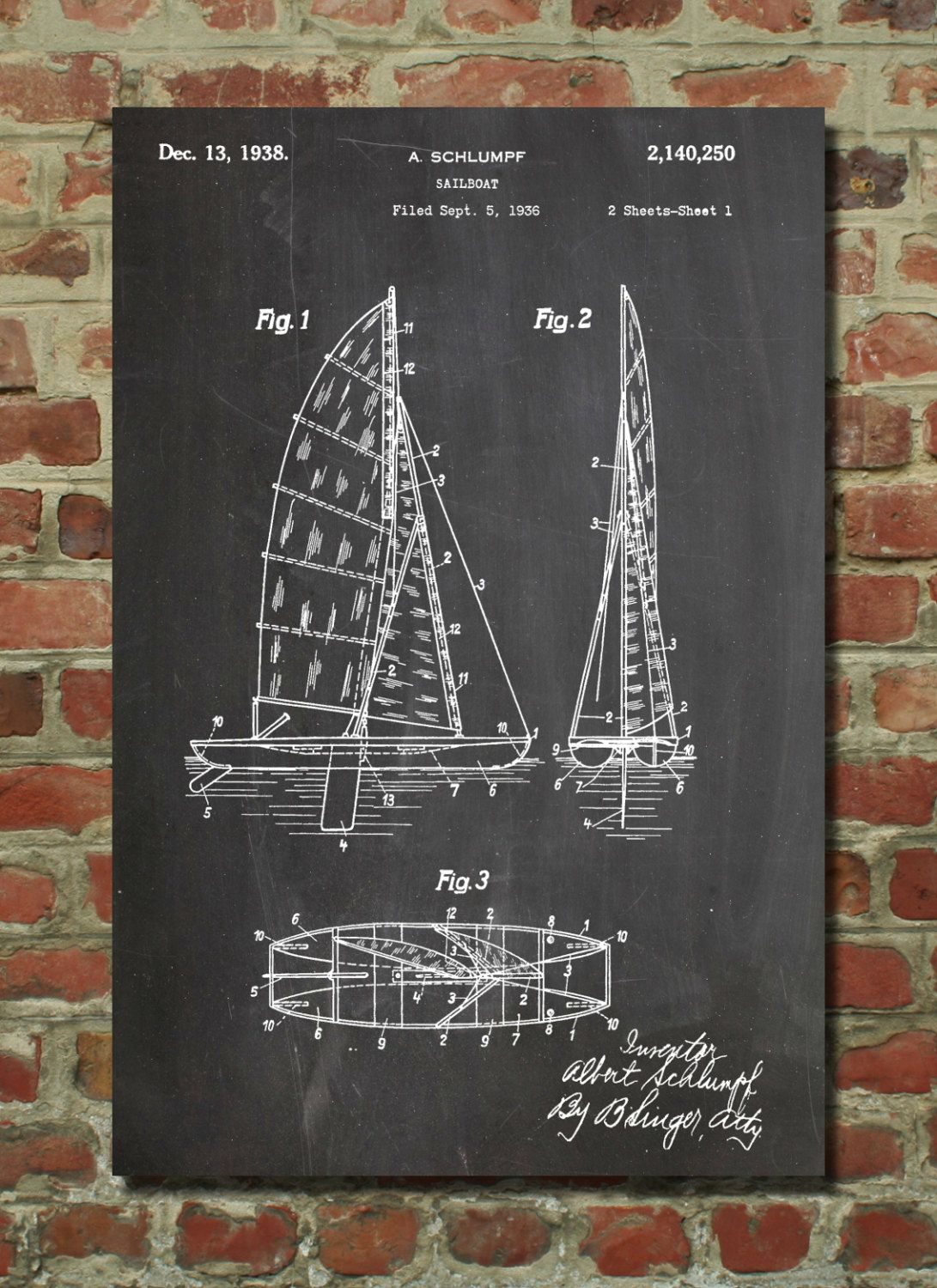 Sailboat Patent Wall Art Poster Patent Art by PatentPrints on Etsy, $6.99