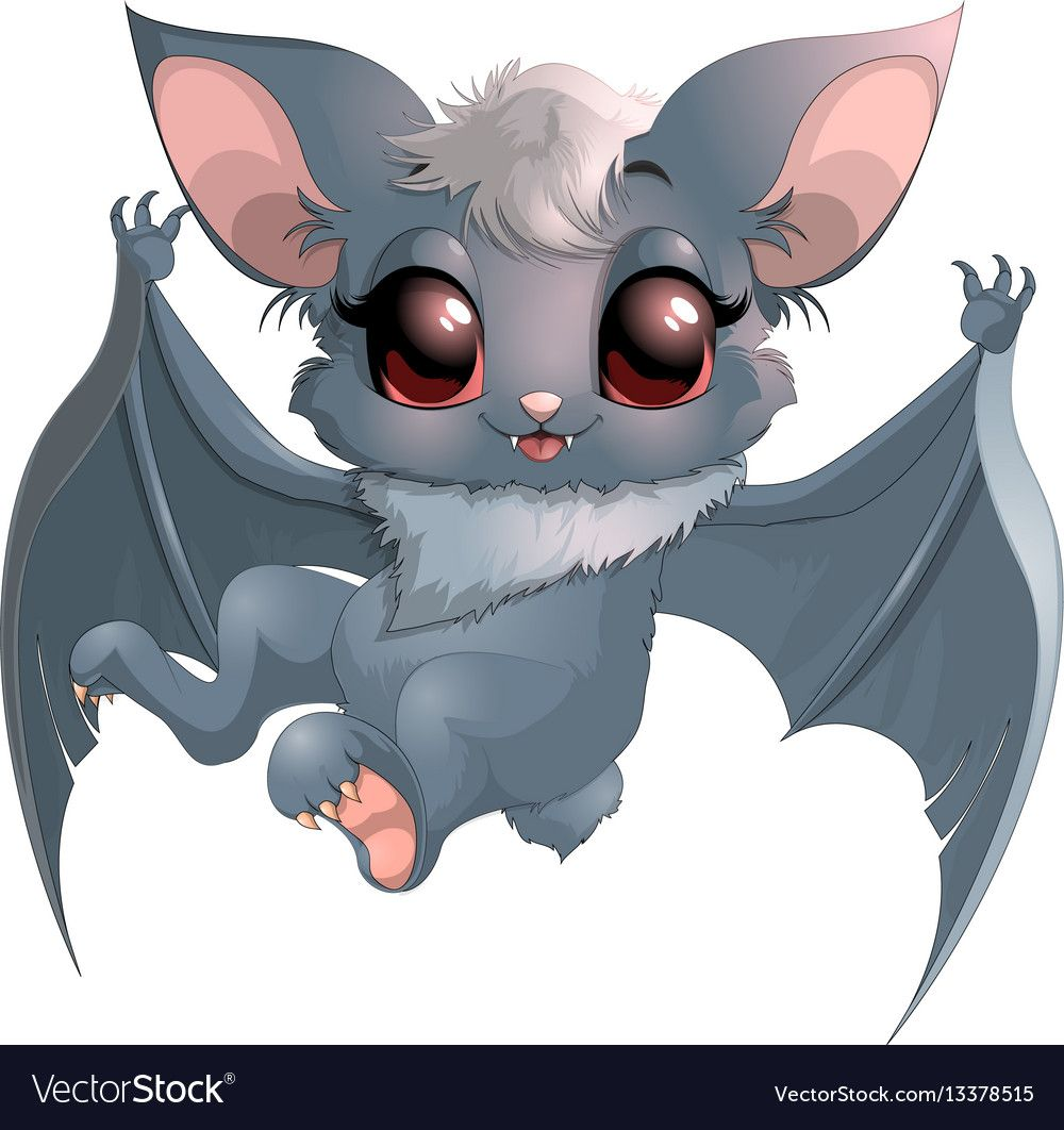 Beautiful Little Bat On A White Background Download A Free Preview Or High Quality Adobe Illustrator Ai Eps P Cute Animal Drawings Cartoon Clip Art Cute Art