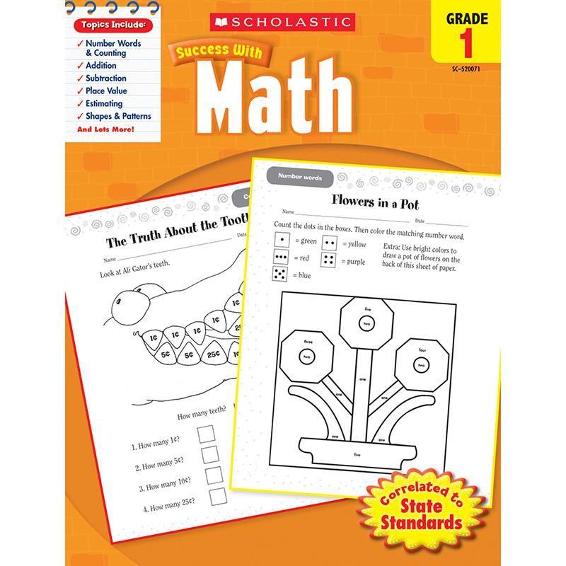 Scholastic Success With Math Gr 1 Math Workbook 1st Grade Math