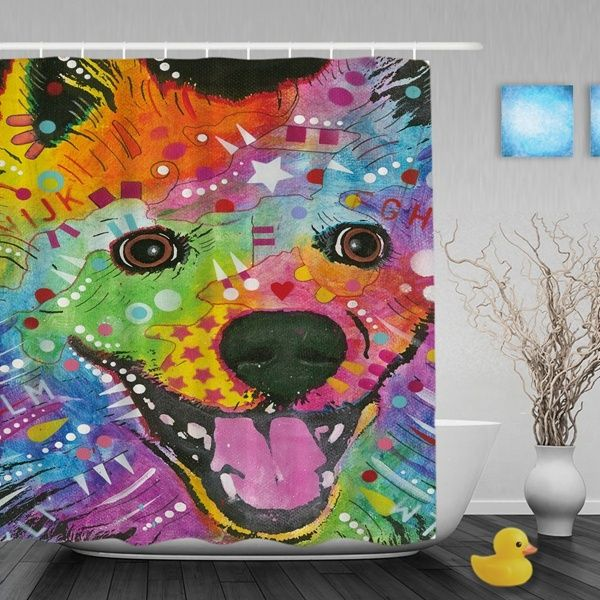Colorful Pomeranian Dog Shower Curtain Art Decor Bathroom Animal