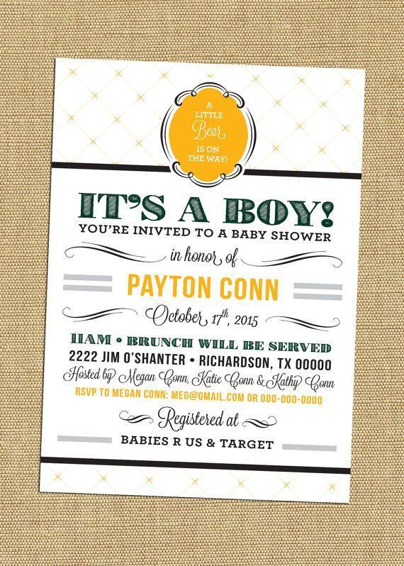 Baylor University Baby Shower Invites