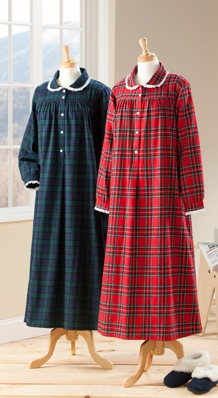 Lanz Classic Plaid Flannel Nightgown