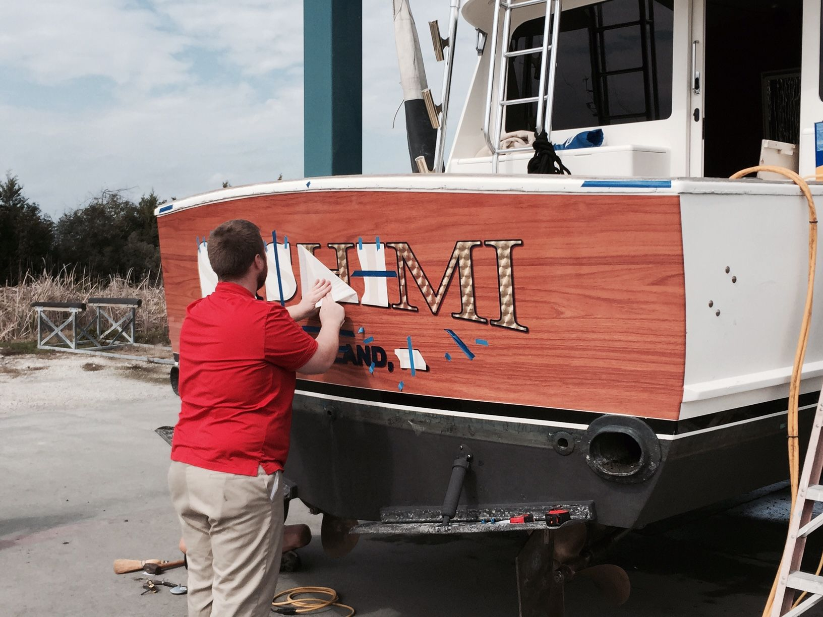 Sportfish Transom Vinyl Wood Wrap To Look Like Wood Transom With Boat Name Page 2 The Hull Truth Boating And Fishing Forum Boat Names Wood Vinyl Boat