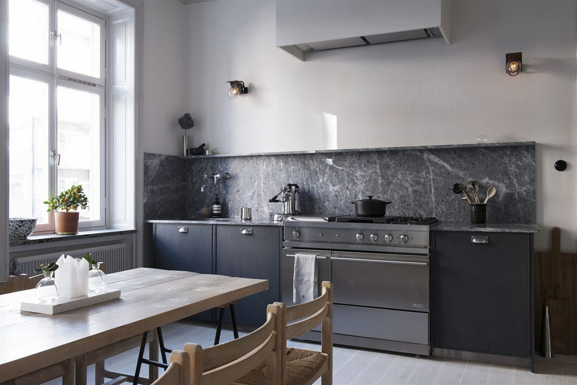 Dark Grey Marble W Charcoal Cabinets Interesting Slab Tall Marble Back Splash W Matching Shelf At Top Modern Kitchen Kitchen Interior Kitchen Inspirations