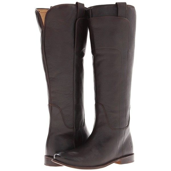 Frye Paige Tall Riding Women's Pull-on Boots (505 AUD) found on Polyvore featuring women's fashion, shoes, boots, dark brown calf leather, knee-high boots, riding boots, pull on leather boots, leather riding boots, knee high leather boots and tall riding boots