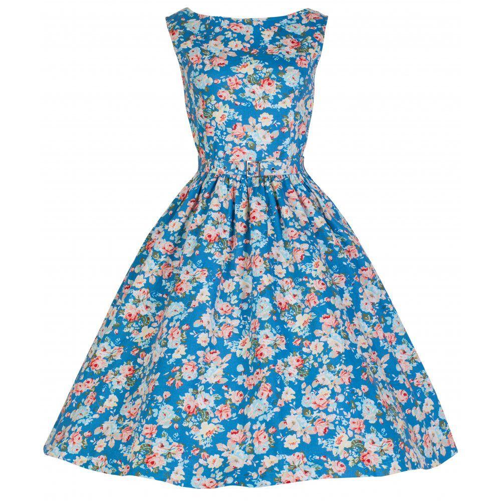 Audrey\' Hepburn Style Vintage 1950\'s Sky Blue Spring Garden Floral ...