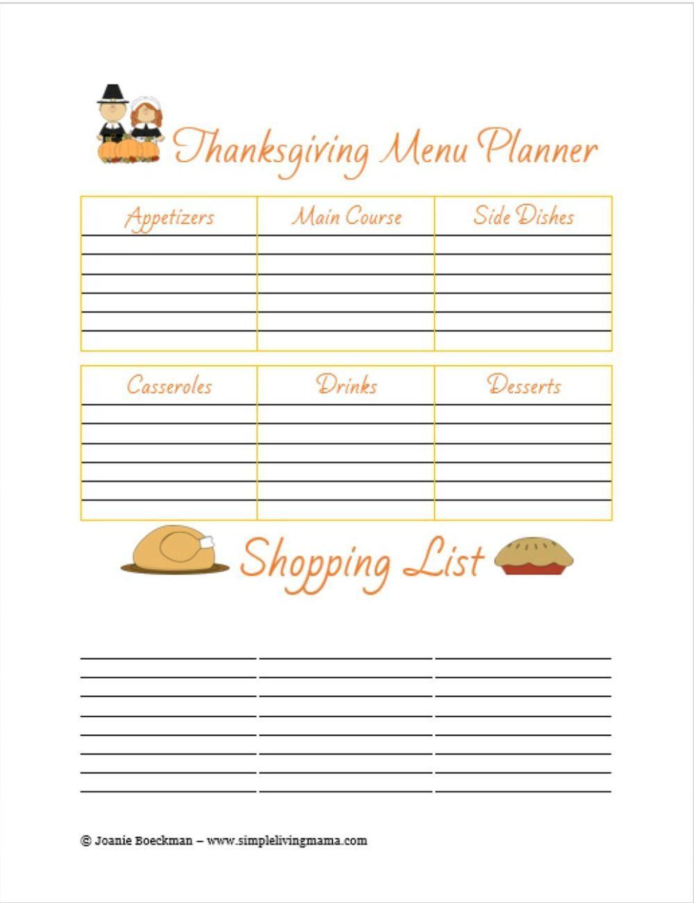Free Printable Thanksgiving Menu Planner  Thanksgiving Menu