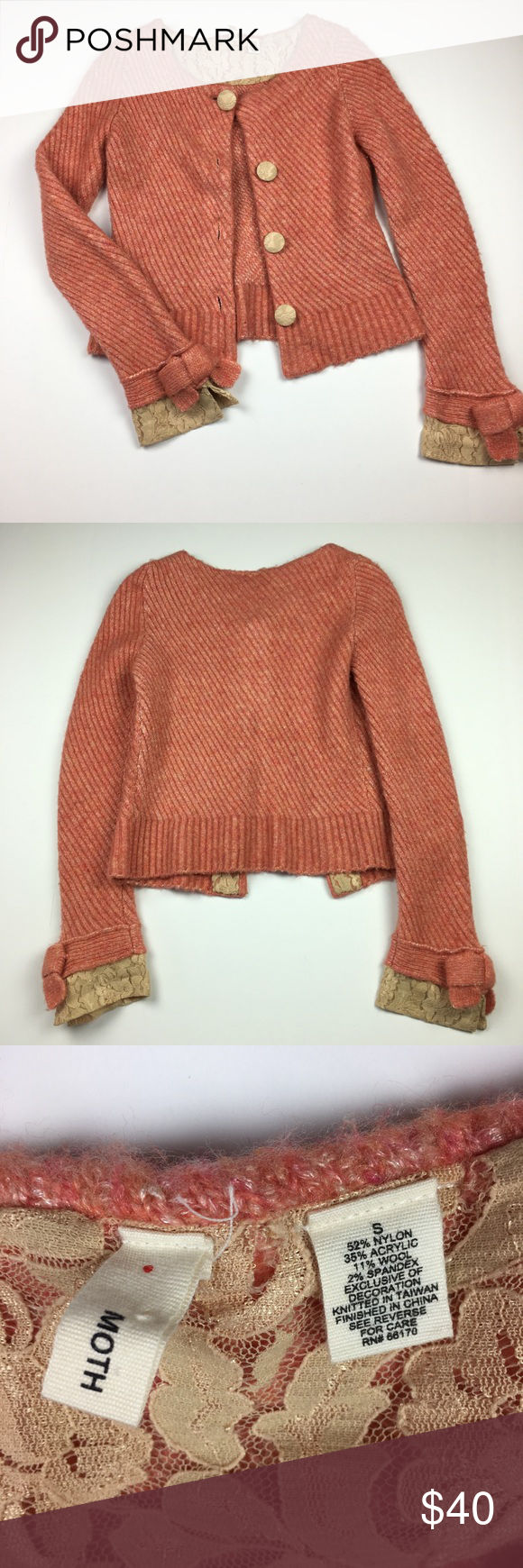 Anthropologie Moth Lace Trim Cardigan Sweater Chest measures