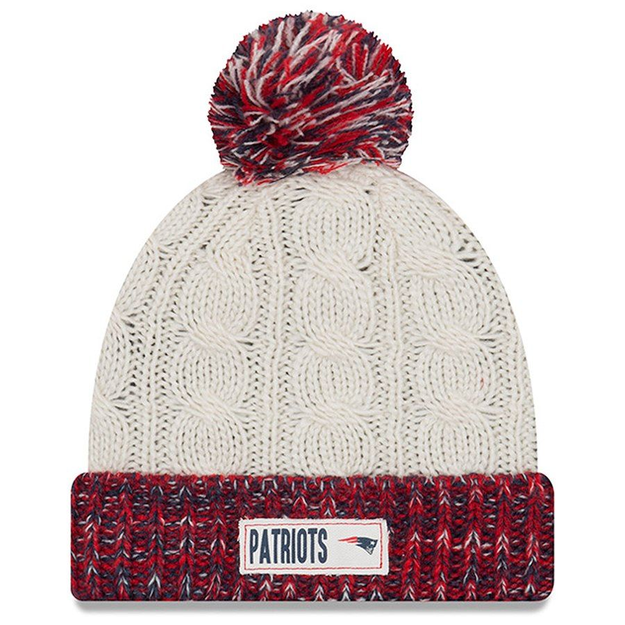 New England Patriots New Era Women s Rugged Tag Cuffed Knit Hat with Pom -  Cream aded2ee0c
