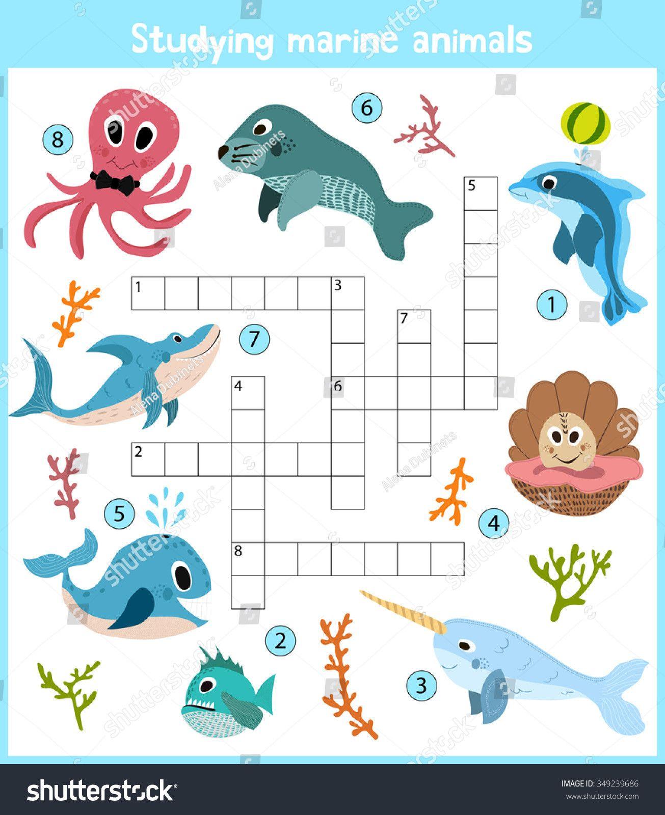 7 Sea Animals Worksheets For Kindergarten Stock Vector A Colorful Children S Cartoon Crosswor Animal Worksheets Kindergarten Worksheets Baby Farm Animals [ 1600 x 1305 Pixel ]