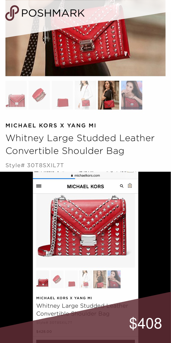 0130601ccda5 MICHAEL KORS X YANG MI Whitney Shoulder bag ~ new with tag!!! Special  edition MICHAEL KORS X YANG MI Whitney Large Studded Leather Convertible Shoulder  Bag ...