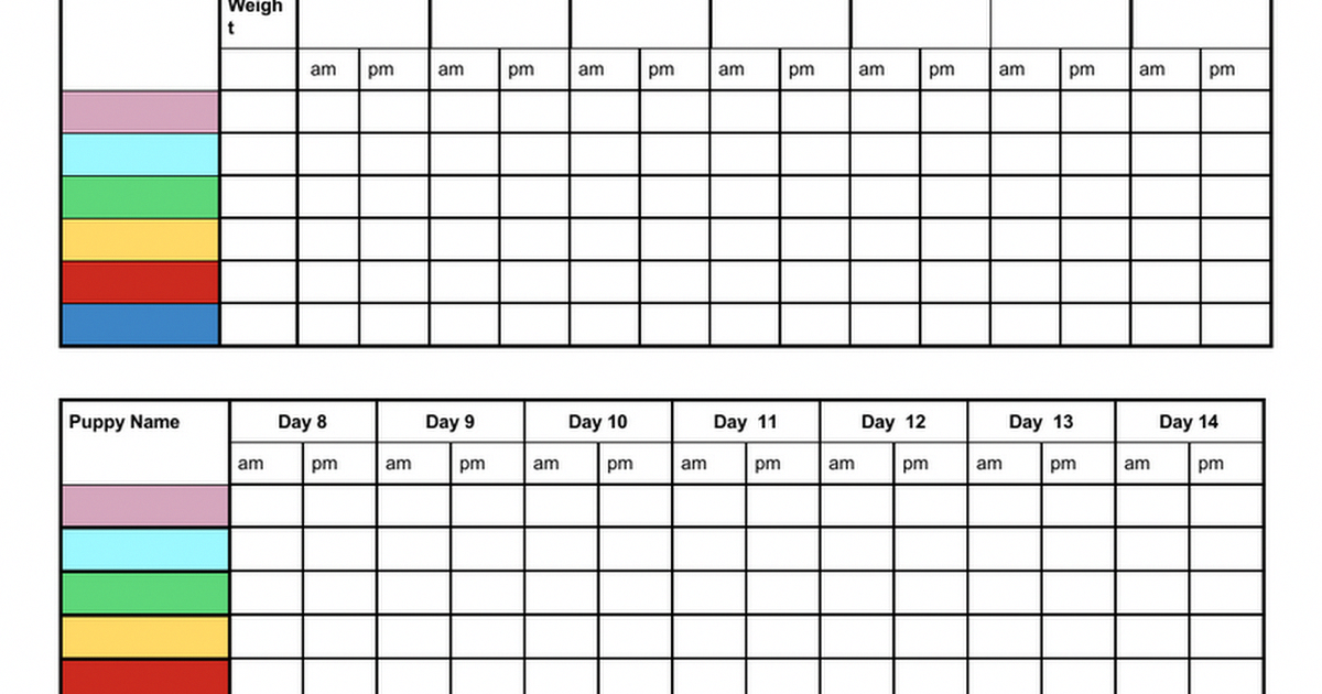 Free Printable Whelping Litter Weight Charts Chart For Breeders Litter Records To Customize Copy And Paste Into Weight Charts Labrador Puppy Puppy Litter