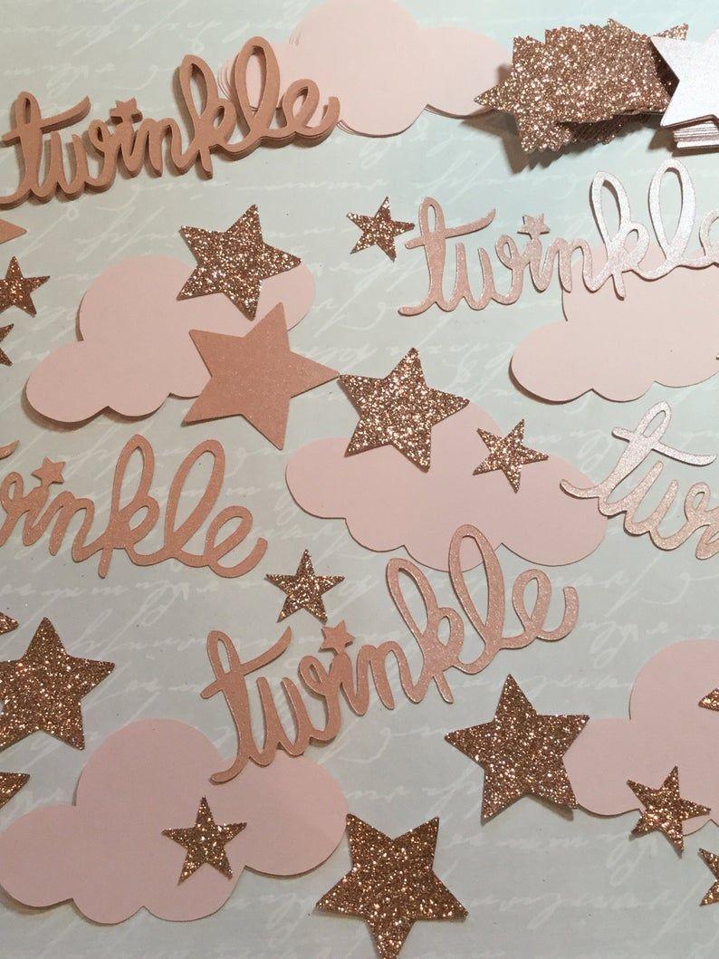 100 Birthday Decor First Birthday Confetti Twinkle Twinkle Bridal Shower Decor Blush Pink Glitter Pink /& Gold Confetti Hearts