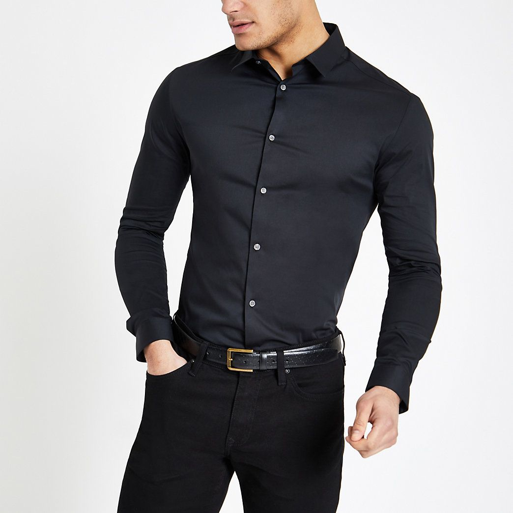 Black Long Sleeve Muscle Fit Shirt Mens Shirt Dress Black Button Up Shirt Shirt Outfit Men [ 1044 x 1044 Pixel ]
