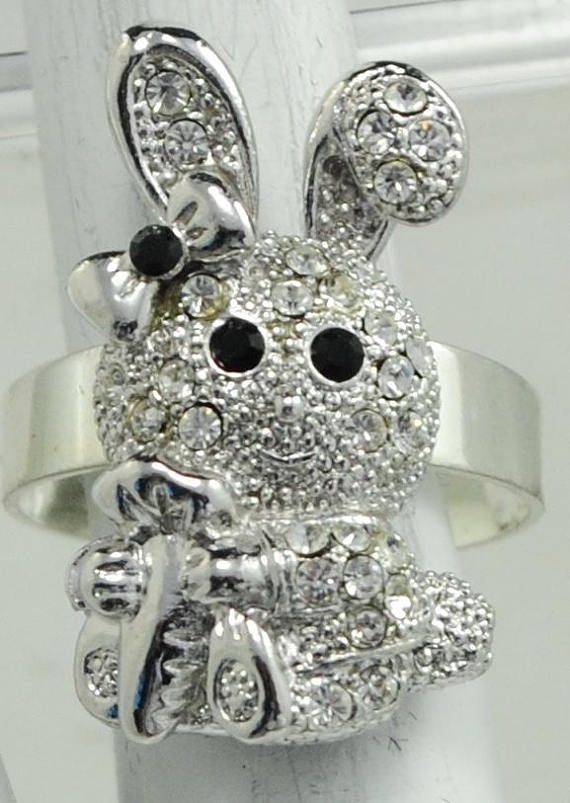 Petite easter bunny ringsilverrhinestonegift for heradultteens petite easter bunny ringsilverrhinestonegift for heradultteens negle Images