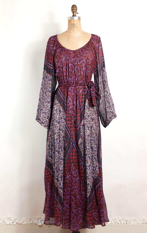 Vintage de 1970 vaquera vestido bohemio DwnJfR - whom.grupons.es