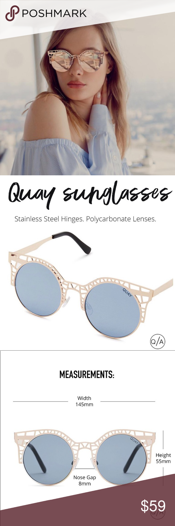 bf464db5e2 NWT Quay Australia Fleur Cat Eye Cutout Sunglasses