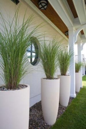 Landscape Planters Really Like This Vertical Elongated Arrangement Gres Are Light White Planterstall Outdoor