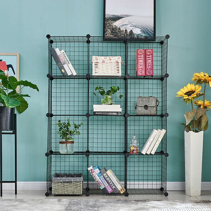 12 Cubes Wire Grid Storage Cube Shelves Closet Organizer Stackable Metal Cabinet In 2020 Wire Storage Shelves Cube Storage Closet Shelf Organization