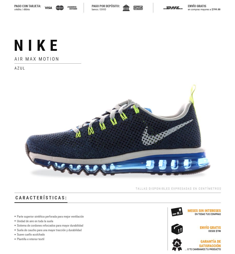 Tenis Nike Air Max Motion 631767401 Hombre $ 3,099.00