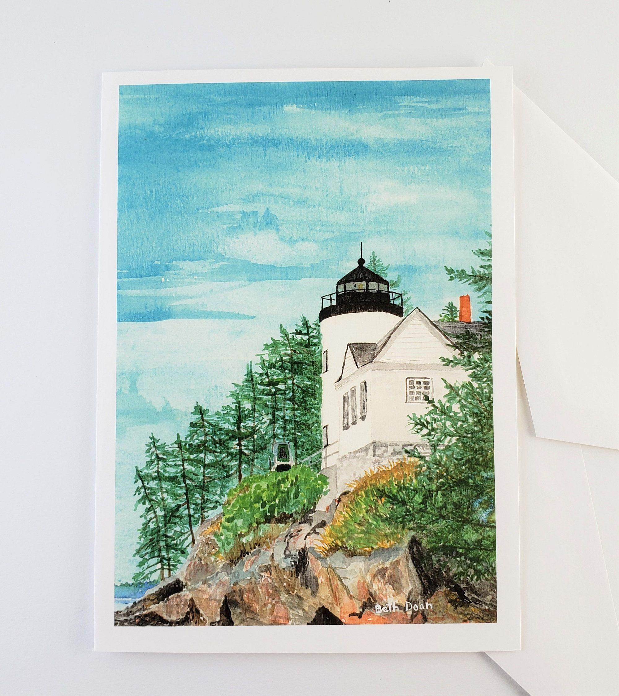 Bass Harbor Head Light, 4.25 x 5.5  Note Card & envelope, Maine Lighthouse