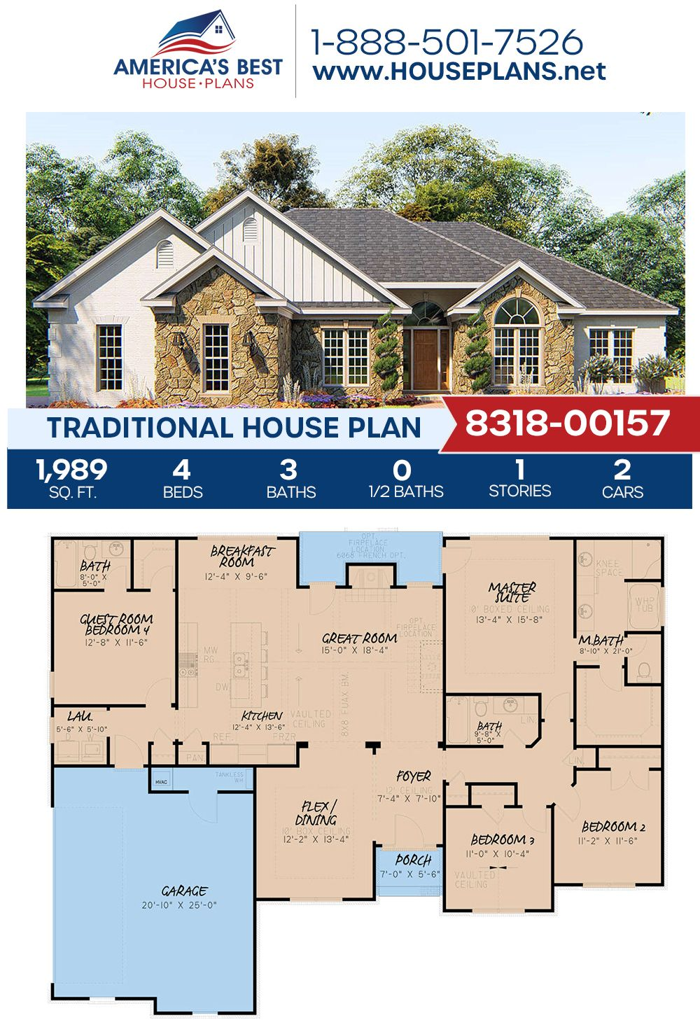 House Plan 8318 00157 Traditional Plan 1 989 Square Feet 4 Bedrooms 3 Bathrooms Open House Plans Traditional House Plans House Plans