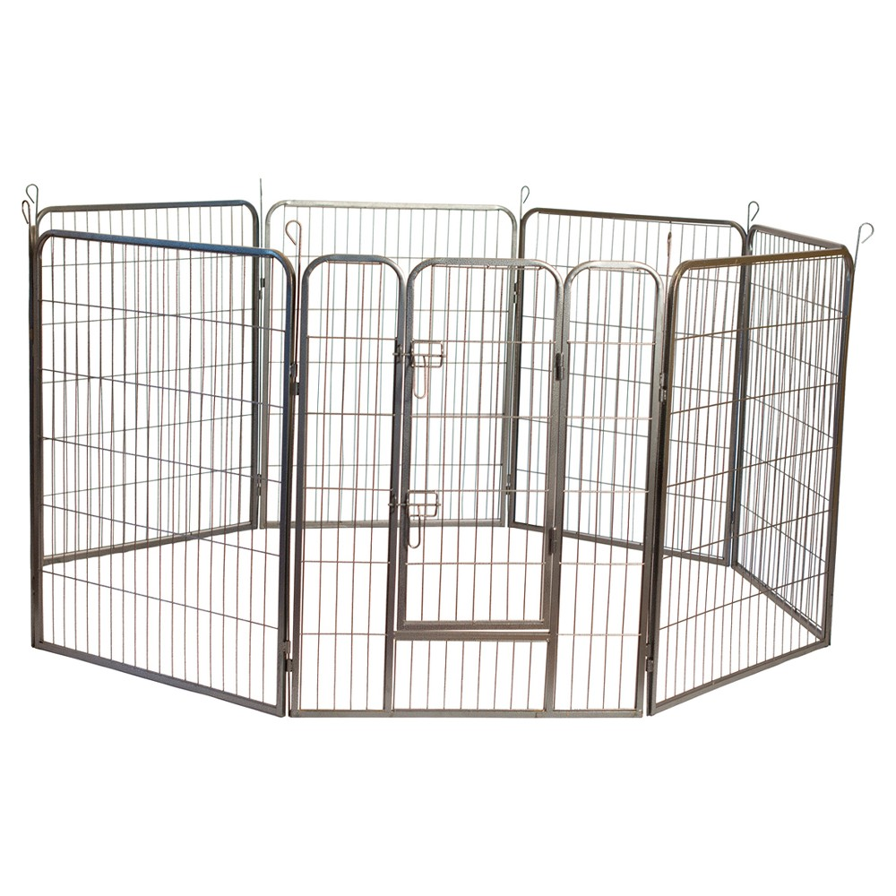 Heavy Duty Metal Tube Pen Pet Dog Exercise and Training Playpen, Silver