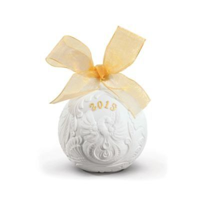 2015 Lladro Porcelain Annual Ball Christmas Ornament Redeco Gold Finish