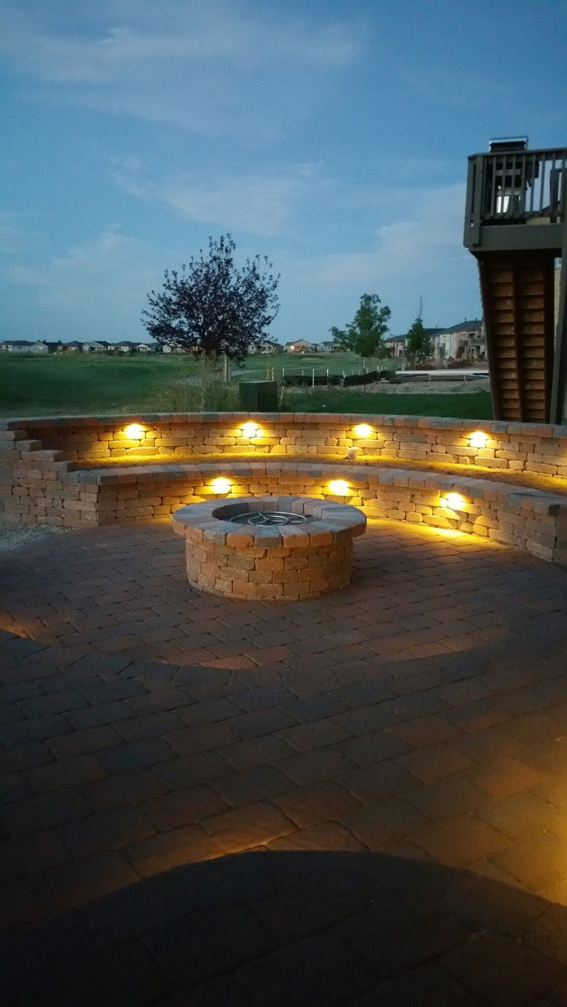 St. Vrain Block's Dublin Giant Patio and Quarry Stone Fire Pit and Raised Planter/Sitting Area. Click on the image to visit our website.  We are located in Dacono, Colorado and can be reached at 303-833-4144.