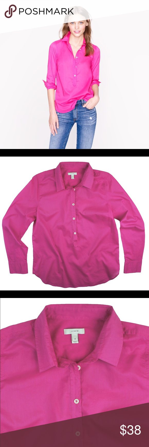 """JCREW Pink Indian Voile Popover Shirt Excellent condition! This pink Indian voulue Popover Shirt from JCREW features button closures and a pullover style. Light weight. Made of 100% cotton. Measures: bust: 42"""", total length: 27"""", sleeves: 25"""" J. Crew Tops Button Down Shirts"""