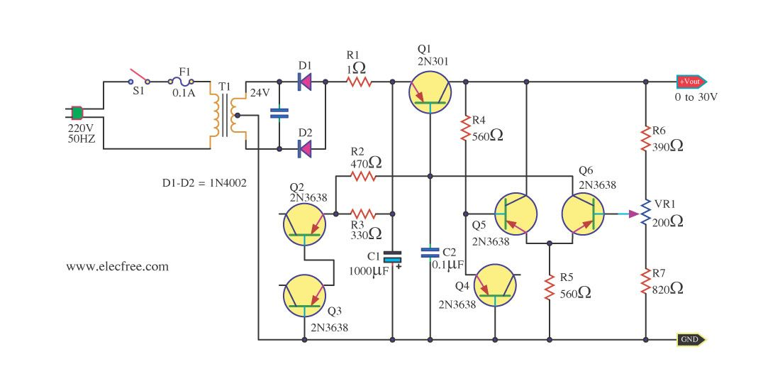 Simple Variable Power Supply Circuit 0 30v 2a Eleccircuit Com Power Supply Circuit Power Supply Power