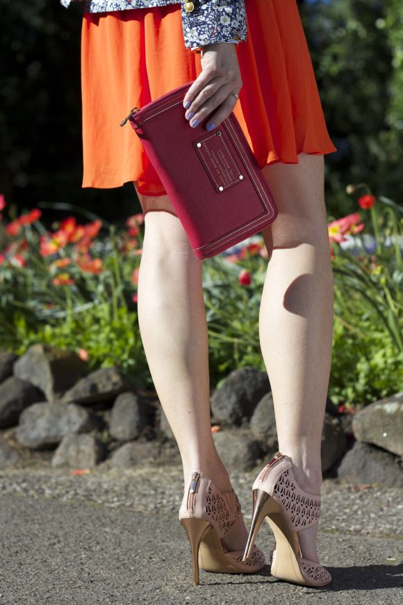 eb8ff4a8f55 Red Dress + Pink Clutch + Sam Edelman 'ALVA' laser cut peep-toe with ...