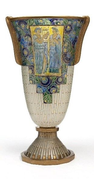 Auguste Heiligenstein, Vase, blown glass, acid etched handles, translucent enamel, gilt, France, 1933