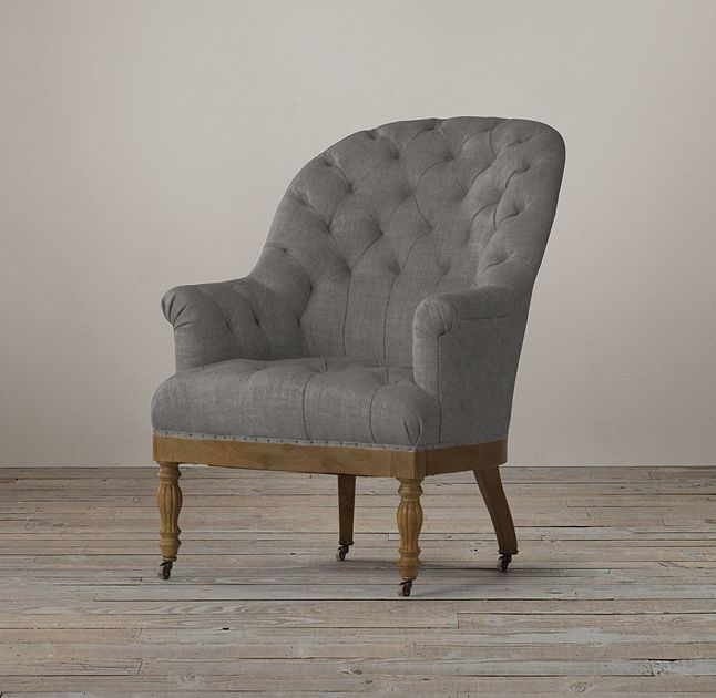 Vallette Upholstered Chair Restoration Hardware $1162 / FOG brushed belgian linen cotton