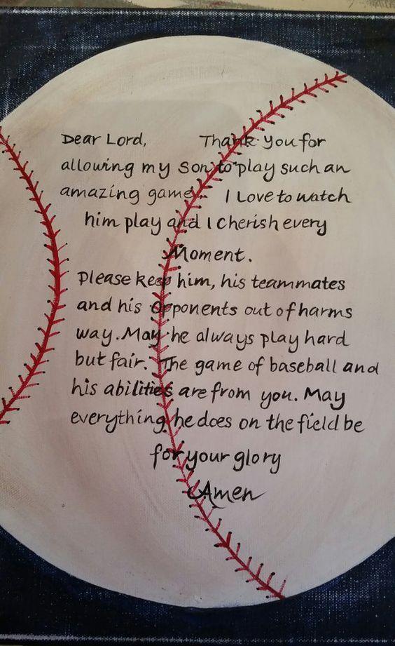 Photo of Items similar to Sports decor Baseball prayer hand painted on canvas on Etsy