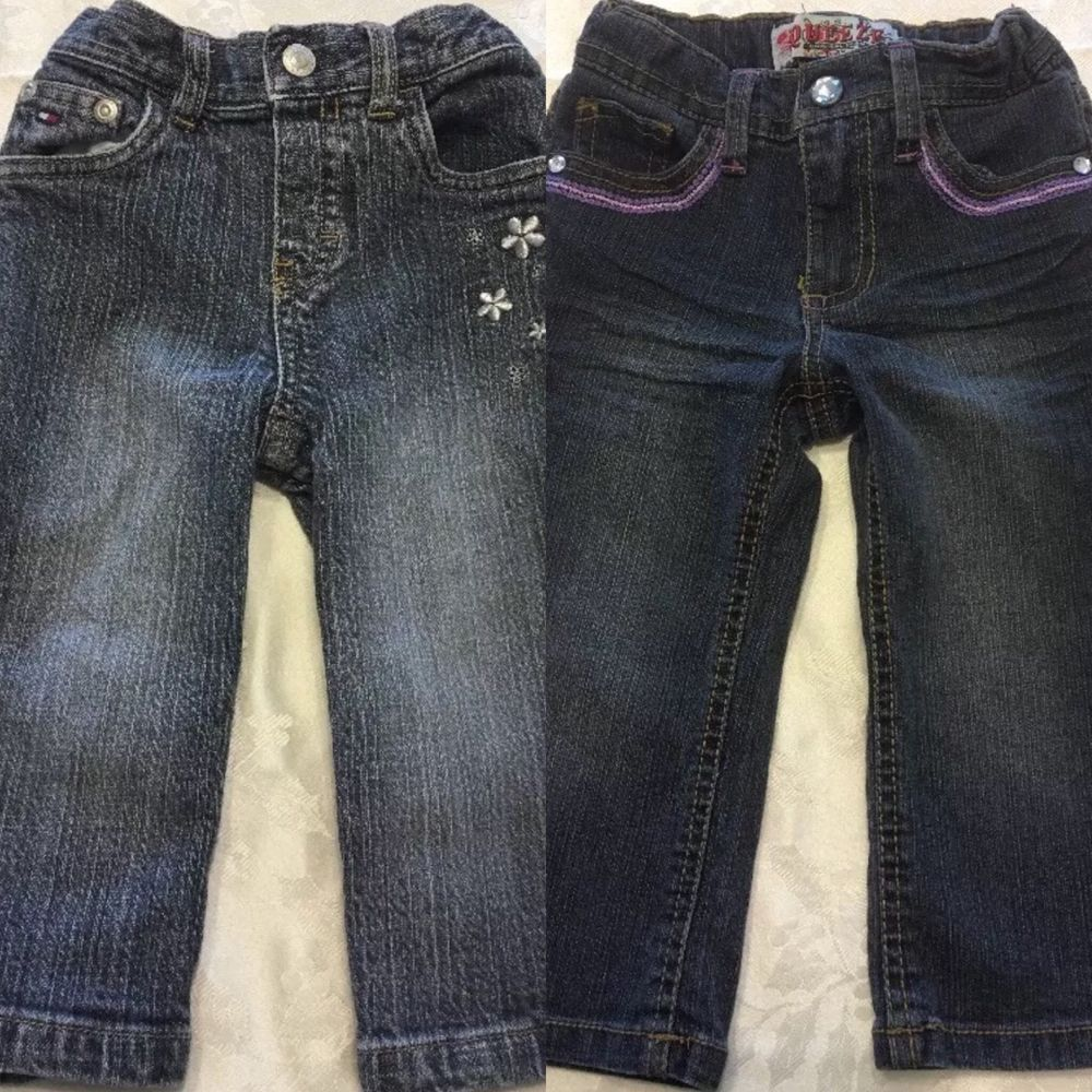Baby Girls Size 12-18 Month Blue Jeans Denim Spring Flower Tommy Hilfiger LOT 2  | eBay