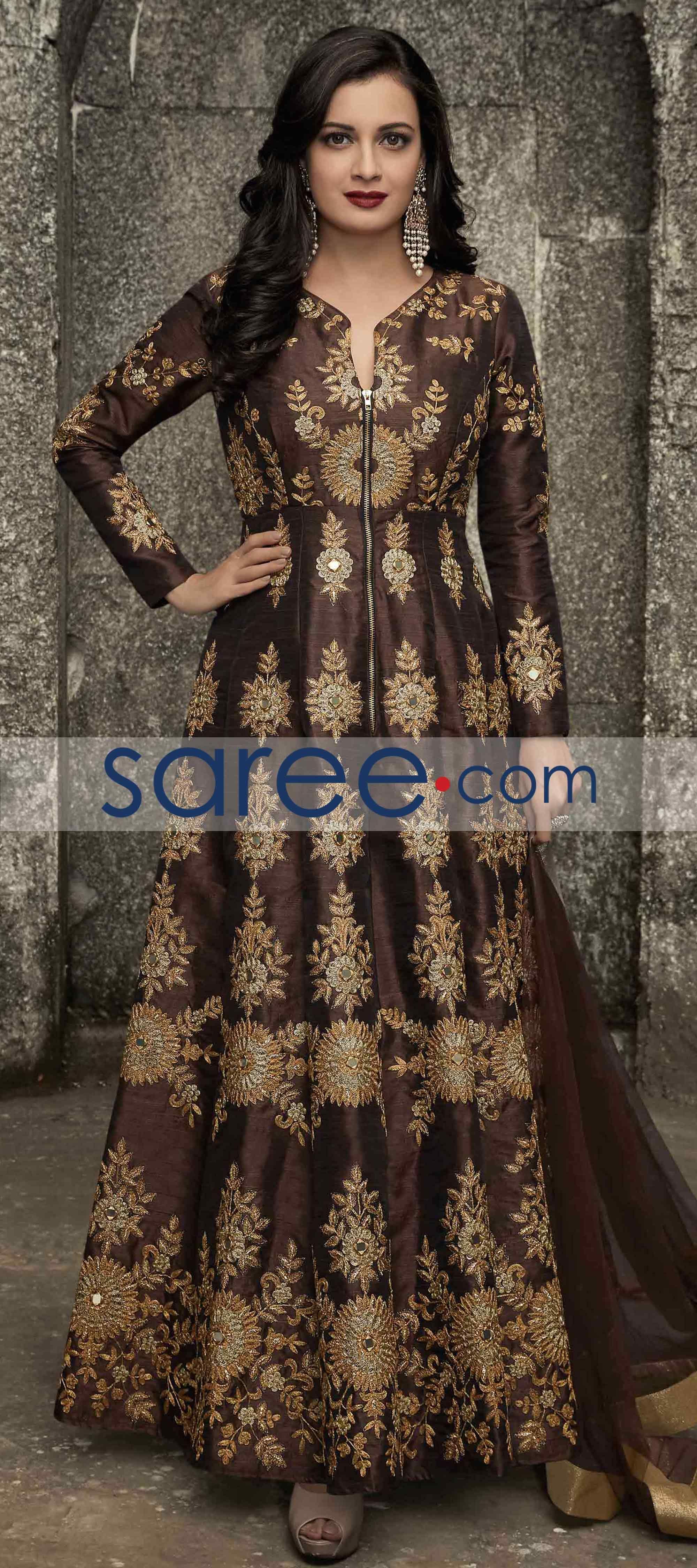 Brown silk anarkali suit with stone work salwarsuit salwarkameez