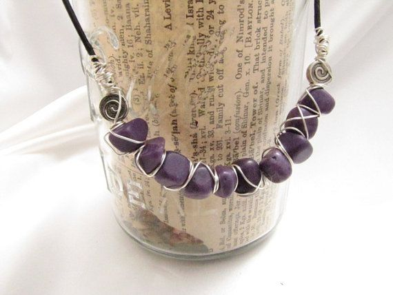 Purple Wirewrap Necklace | Chinese MARBLE Jewelry with Black Leather | Spring 2014 | Ready to Ship | Gift for Her | nineteen inch length