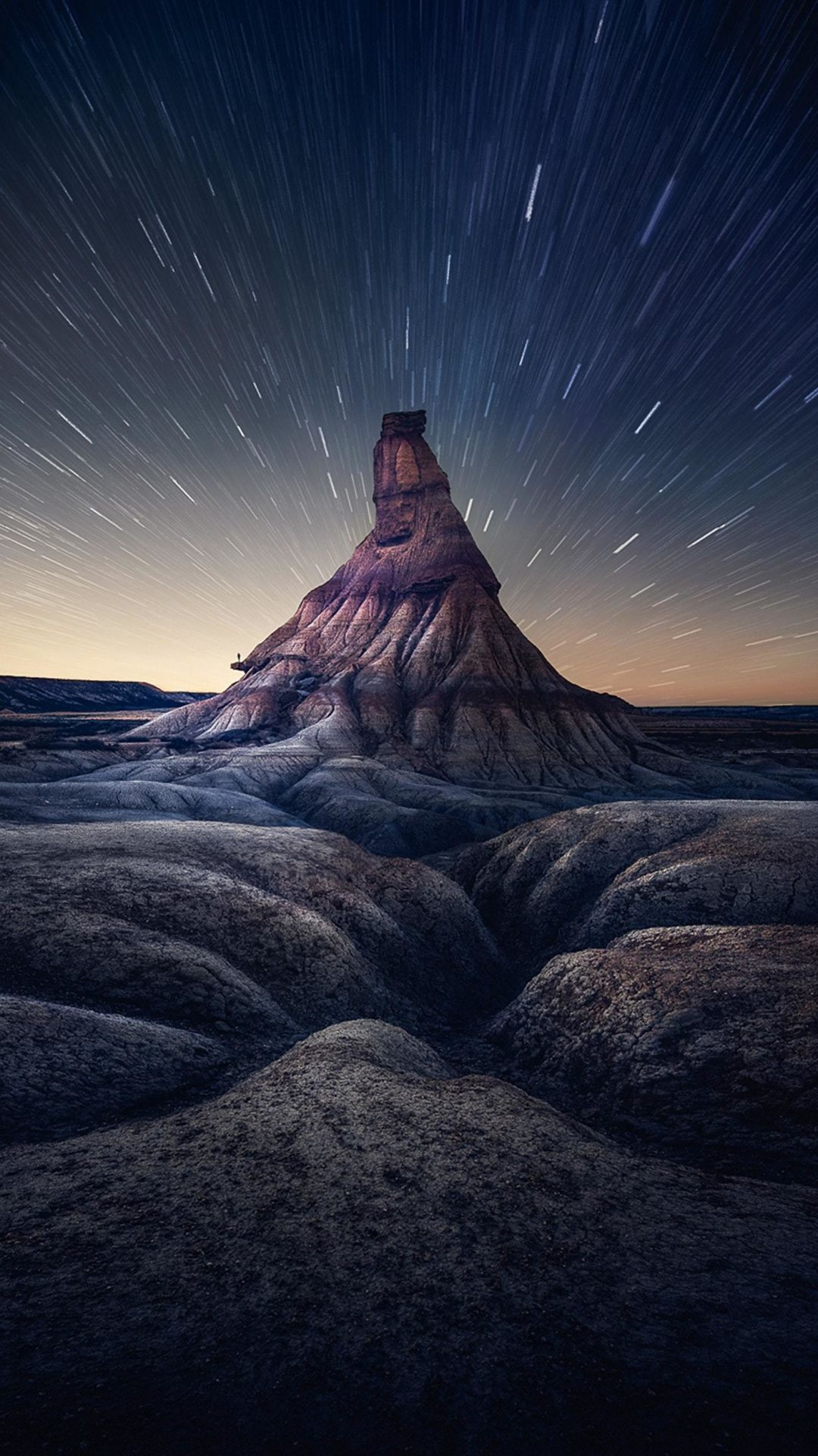 cliff time lapse starry night landscape 1080x1920 wallpaper