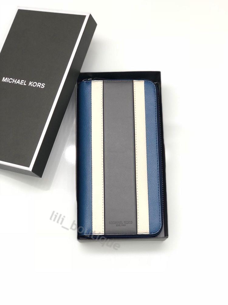 3e1a5e675a38 NWT Michael Kors Mens Warren Tech Zip Around Wallet Leather Patchwork Sea  Blue