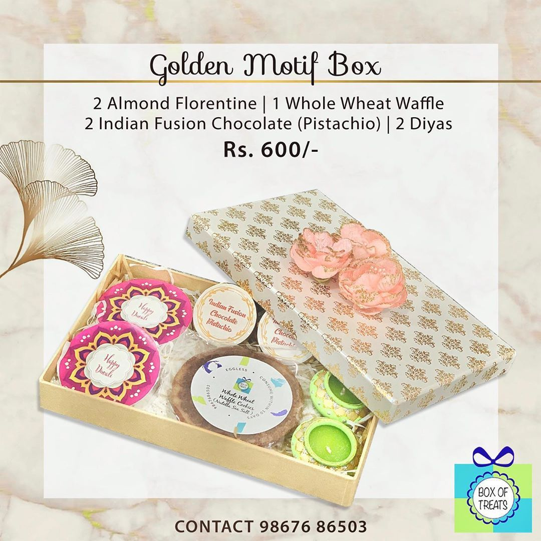 Box Of Treats has curated some beautiful and sinfully delicious customised Diwali gifting options .  Delivery across Mumbai is possible at an additional cost .