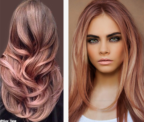 Rose Gold Tones. Rose gold isn't just for blondes, though lightening powder is usually required!  These gorgeous pinkish copper tones can be accomplished on almost all hair colors. However, in order to achieve this highly sought after hair color trend, you will need to pre-lighten or begin depositing on levels 8 and higher.