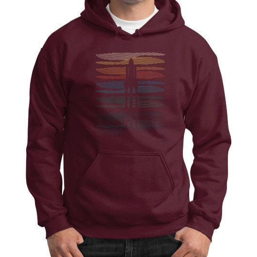 Space shuttle launch geometric lineart Gildan Hoodie (on man)